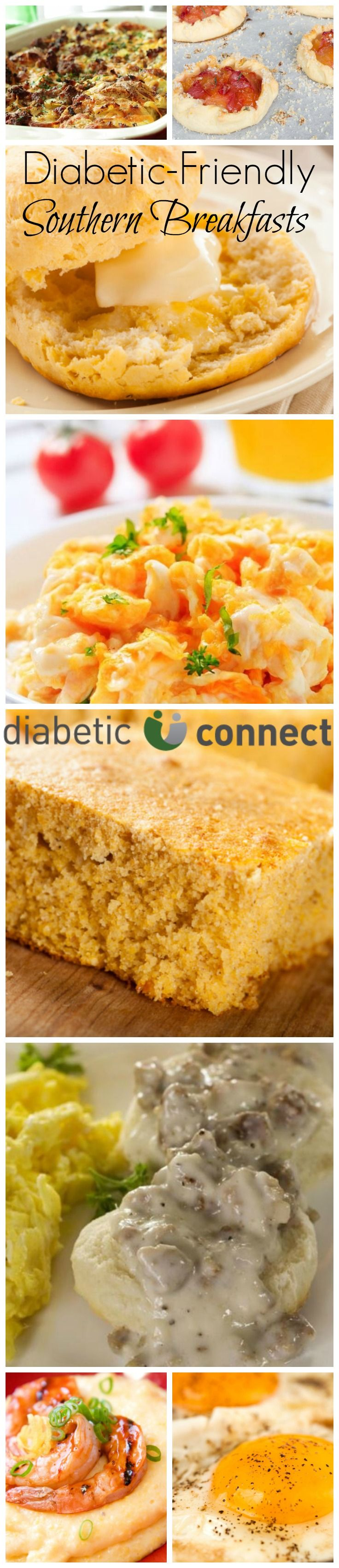 You don't have to be from the South to love southern cooking. And every one of these tempting down-home breakfast favorites can fit your diabetic meal plan. With recipes for Low-Carb Drop Biscuits with Sausage Gravy, Corn Bread and Garlic and Cheese Grits. Find more great diabetic-friendly recipes at diabeticconnect.com #diabetesrecipes #diabetesdiet