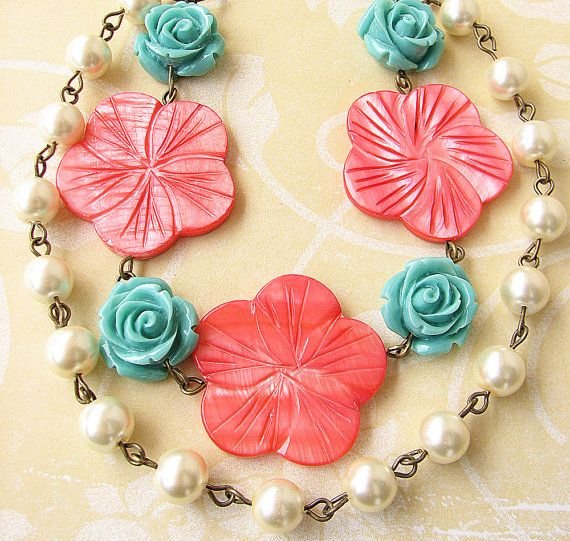 Flower Necklace Turquoise Jewelry Coral Necklace by zafirenia, $44.00
