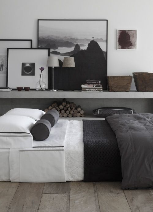 black + white + wood daybed