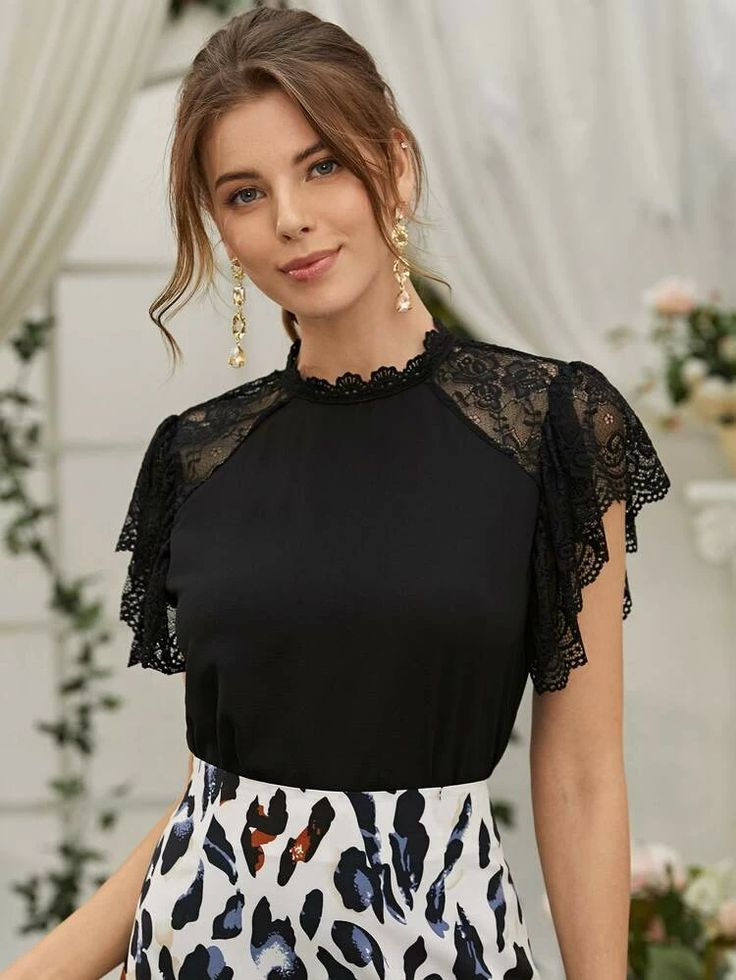 Contrast Lace Button Back Blouse in 2021   Ladies tops fashion, Pretty blouses, Fashion tops