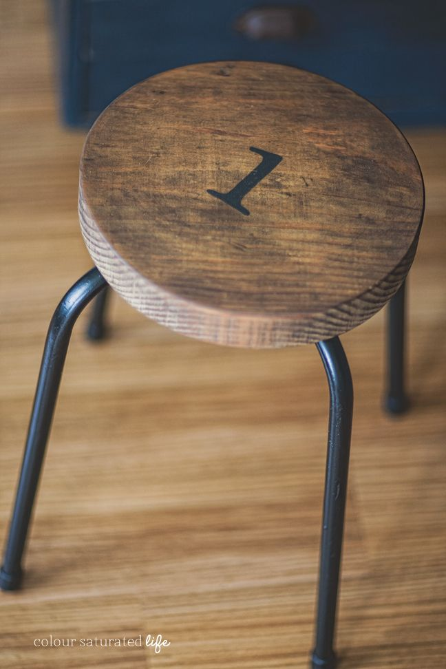 Industrial wood and metal stool from Color Saturated Life | Friday Favorites at www.andersonandgrant.com
