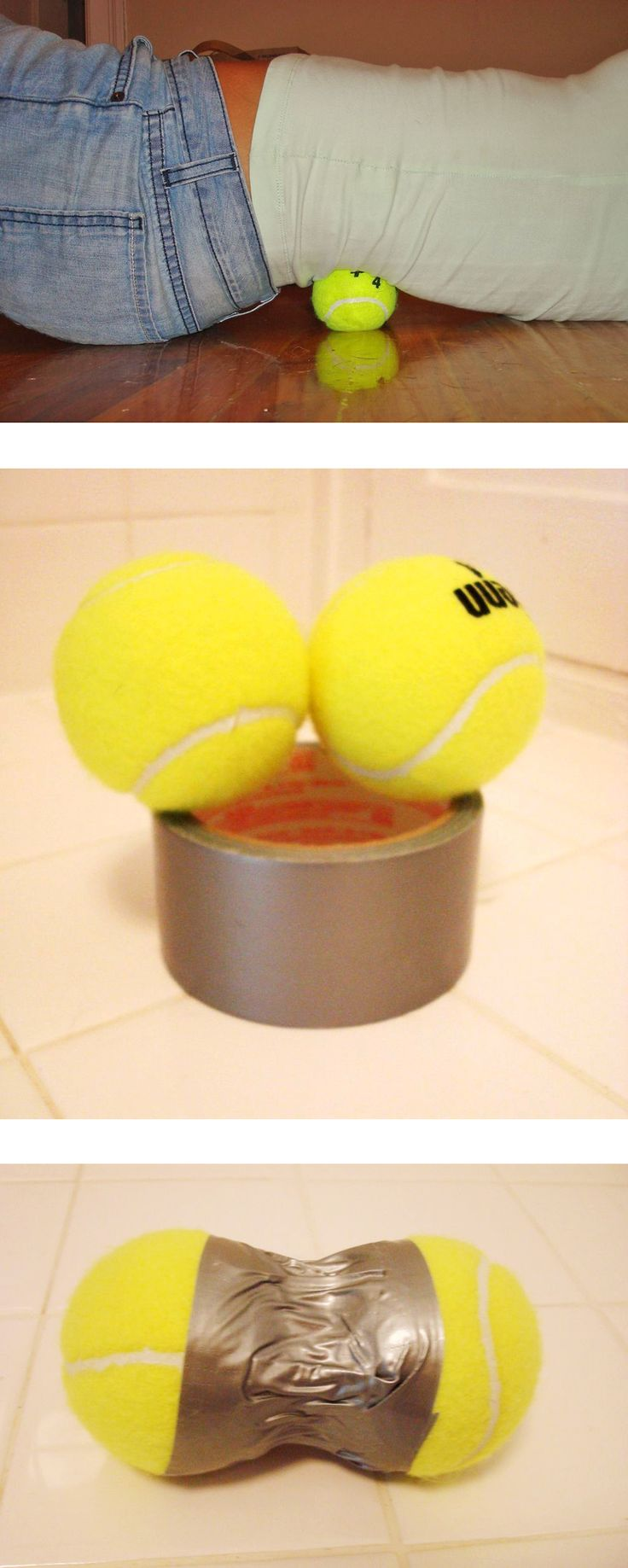 A quick way to relieve back pain. All you need is duct tape and two tennis balls! Lol wow this is so simple it's genius.