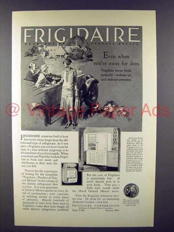 1927 Frigidaire Refrigerator Ad - Even Away For Days