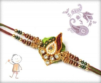 Fancy  #Rakhi Collection 2015 – Send  #Rakhi to #USA #UK #Canada #India #Australia  #Dubai  #NZ #Singapore.  Traditional Green Zardosi Rakhi, surprise your loved ones with roli chawal, chocolates and a greeting card as it is also a part of our package and that too without any extra charges. http://www.bablarakhi.com/send-fancy-rakhi-online/735-traditional-green-zardosi-rakhi.html