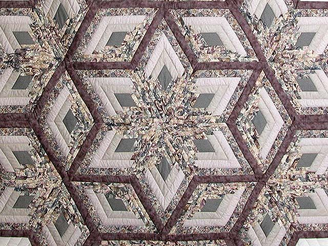 Diamond Log Cabin Patterns Free | Diamond Log Cabin Star Quilt -- great adeptly made Amish Quilts from ...