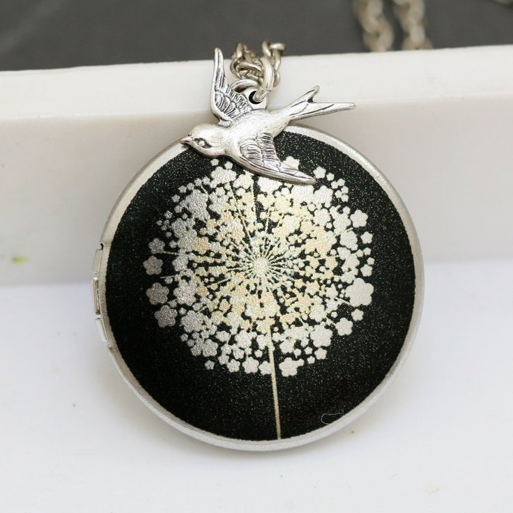 LocketSilver LocketDandelions LocketBirdImage by emmagemshop