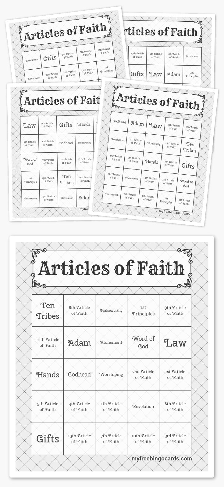 Mormon Share  Articles of Faith Learning Activities