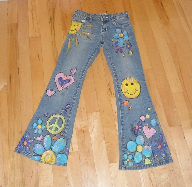 Flower Child Hand-Painted Jeans. $70.00, via Etsy.