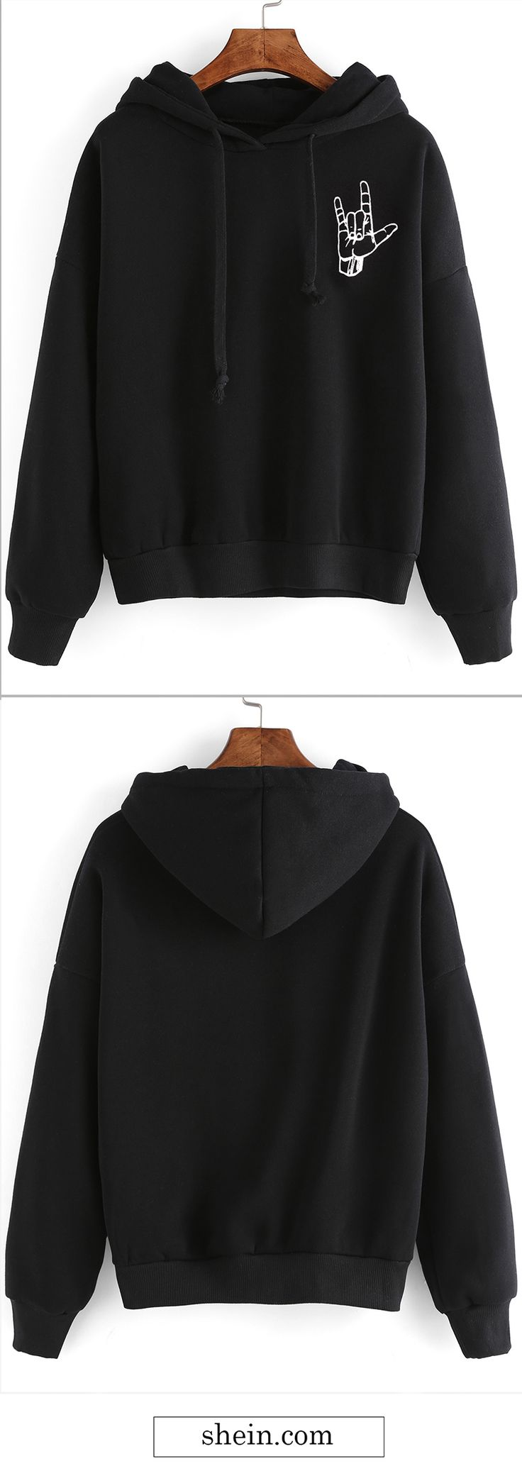 Black gesture print drop shoulder hooded sweatshirt