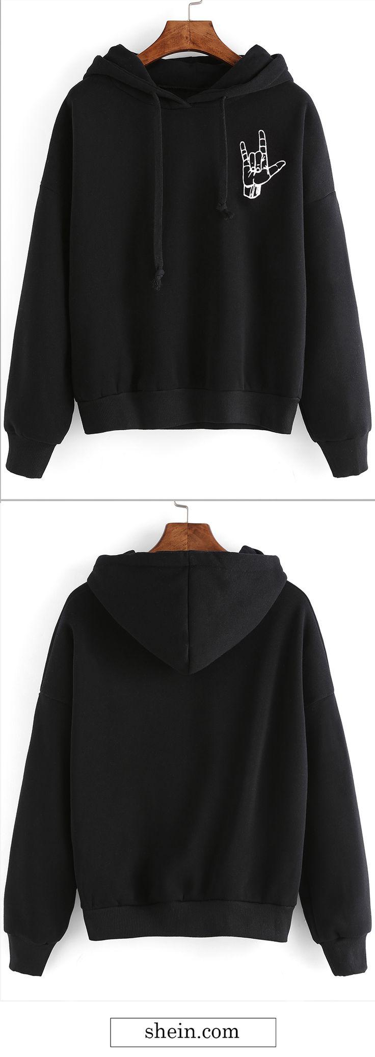 Black gesture print drop shoulder hooded sweatshirt