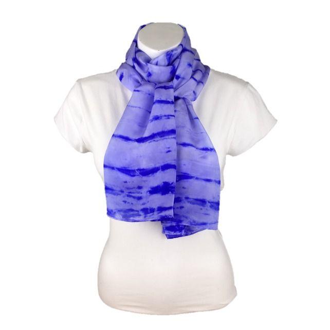 Silk scarf, womens fashion scarf, hand dyed silk crepe de chine, purple stripes