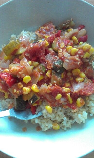 Mexican chilli veggies and brown rice!