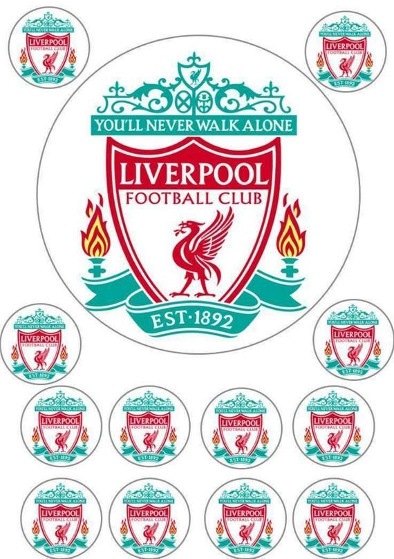 Liverpool football club team cupcake toppers.