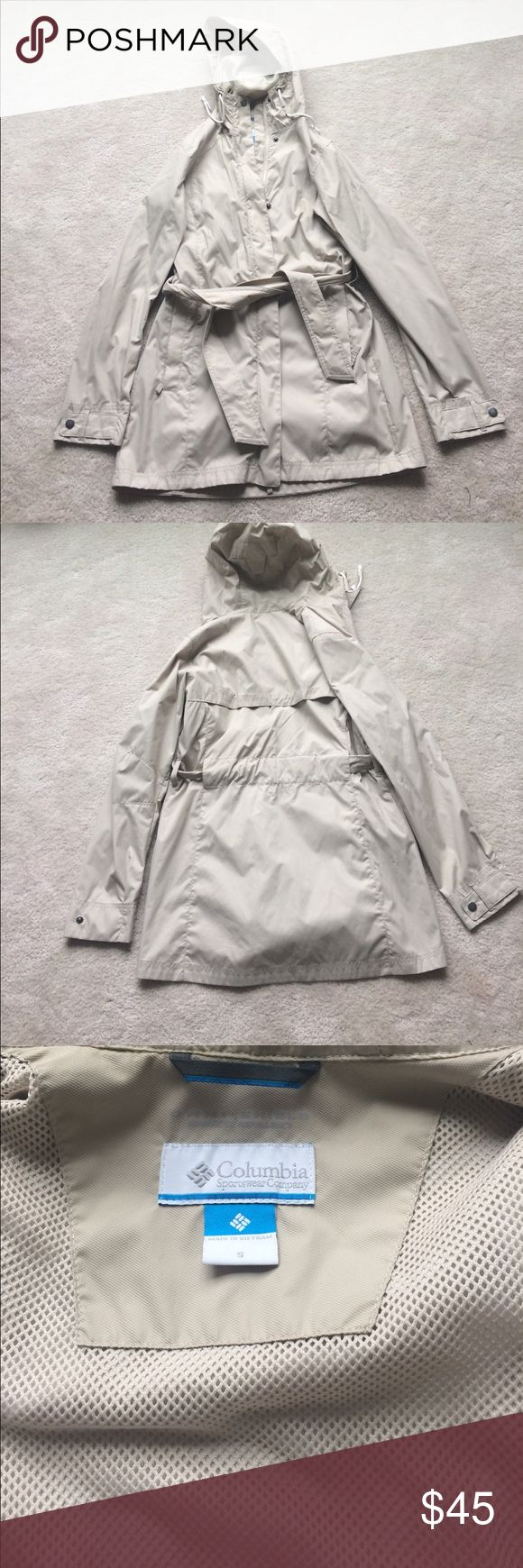 Columbia Raincoat with hood size small Worn a few times but like new! Lightweight and nude in color. No holes or stains. Non smoker owner. Columbia Jackets & Coats