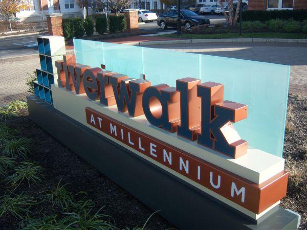 Riverwalk apartment dimensional monument sign