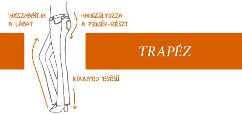 A Trapéz nadrág egy igazi jokerdarab, hiszen minden típusú alakhoz passzol. A forma által hosszabbnak tűnnek a lábak és hangsúlyozza a fenék részt. Így igazán szexi, emellett kényelmes is! Útmutató a fazonokhoz   Szolgáltatás   Takko Fashion