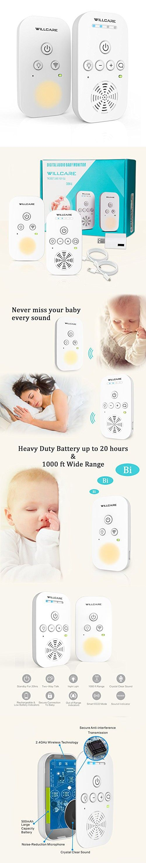 Baby Monitor, Willcare Portable Digital Audio Baby Monitor with Up to 1000ft Operating Range, Two-Way Talking Feature, Heavy-Duty Rechargeable Battery & HD Sound Listening System (white)