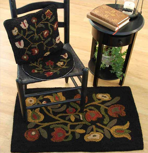 Flowers Wool Hooked Chairpad