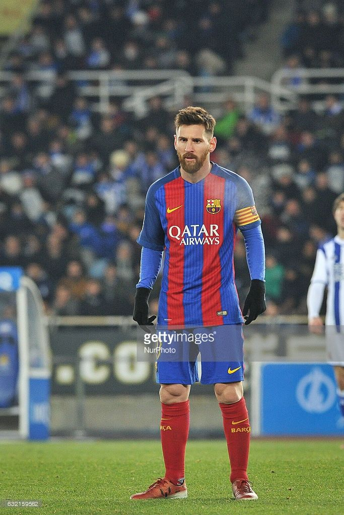 Lionel Messi of Barcelona during the Spanish Kings Cup (Copa del Rey) round of 1/4 finals first leg football match between Real Sociedad and Barcelona at the Anoeta Stadium in San Sebastian on 19 January, 2017