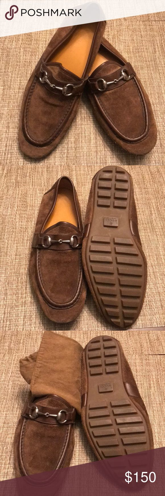 Gucci Suede Loafers in Brown for Men Brown suede Gucci round-toe Loafers with brass-tone hardware, covered heels and rubber soles. Good condition. Gucci Shoes Loafers & Slip-Ons
