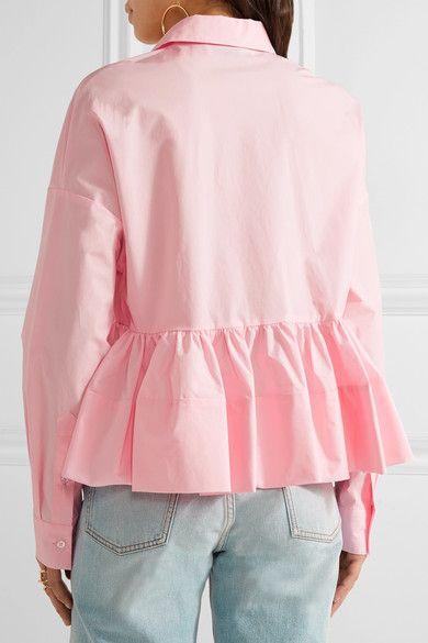 MSGM - Stretch Cotton-blend Poplin Peplum Shirt - Baby pink - IT40