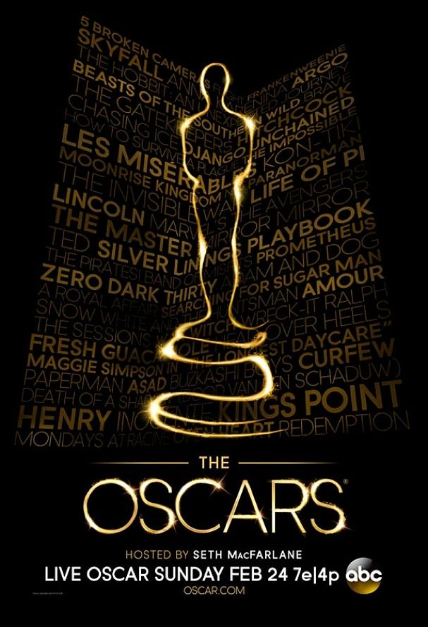 "Celebrating the 85th anniversary of the Academy Awards, the poster features a ""light Oscar"" set against a backdrop composed of the names of all of this year's nominated films."