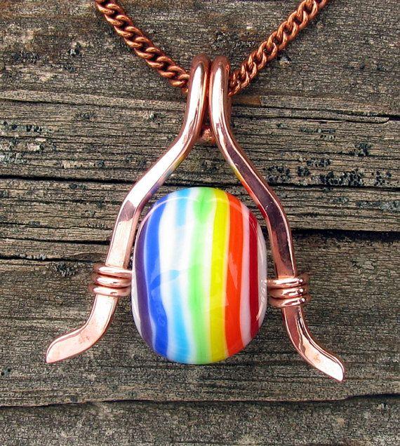 Handmade Rainbow Striped Lampwork Glass Bead by CourtneyBDesigns, $32.00
