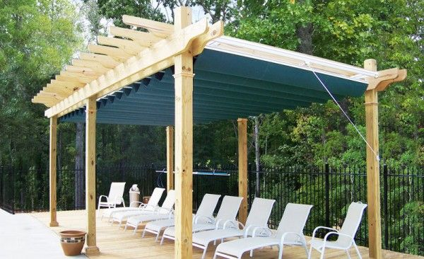 Fabric Canopy Structures At Baseball : Fabric wooden shade structure retractable canopy