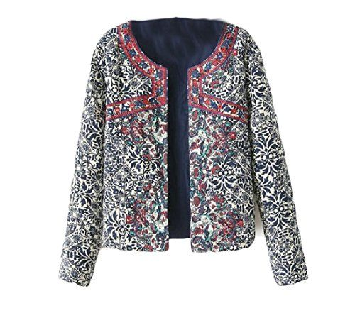 Winwinus Women's Print Slim Fitted Short Jacket Tribal Outdoor Coat 1 S