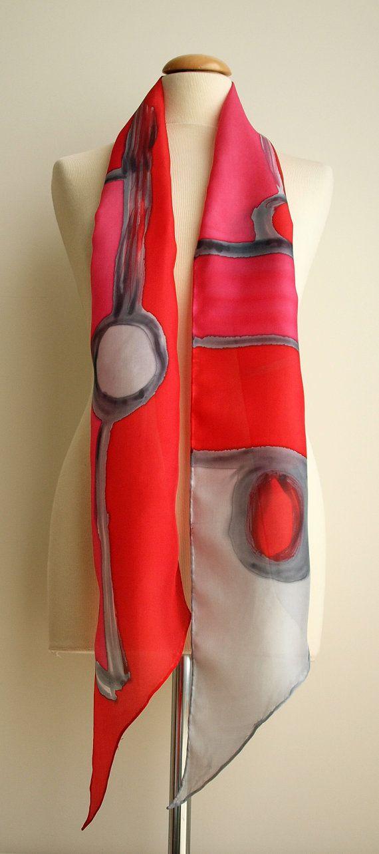 Hand Painted Silk Scarf. 200x20 cm. Silk Scarf.Hand by gilbea