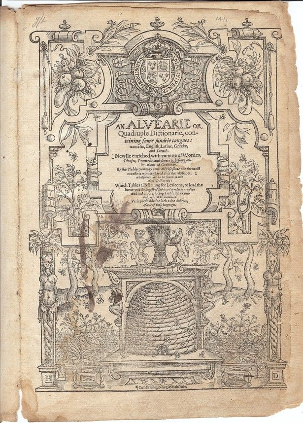 Booksellers: We Got Shakespeare's Personal Dictionary on eBay But scholars say the handwriting in the margins may tell a different story.   Title page of the contested copy of An Alvearie Koppelman, via the Folger Shakespeare Library