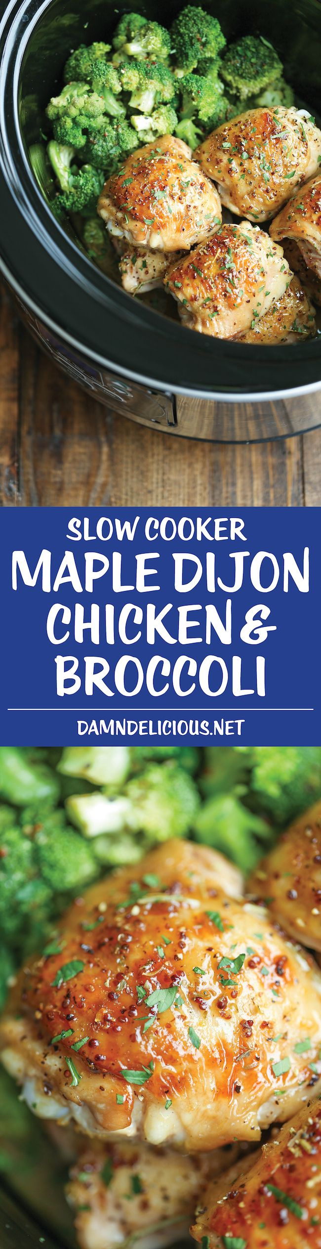 Slow Cooker Maple Dijon Chicken and Broccoli - Sweet, tangy and packed with so much flavor, made right in your crockpot!
