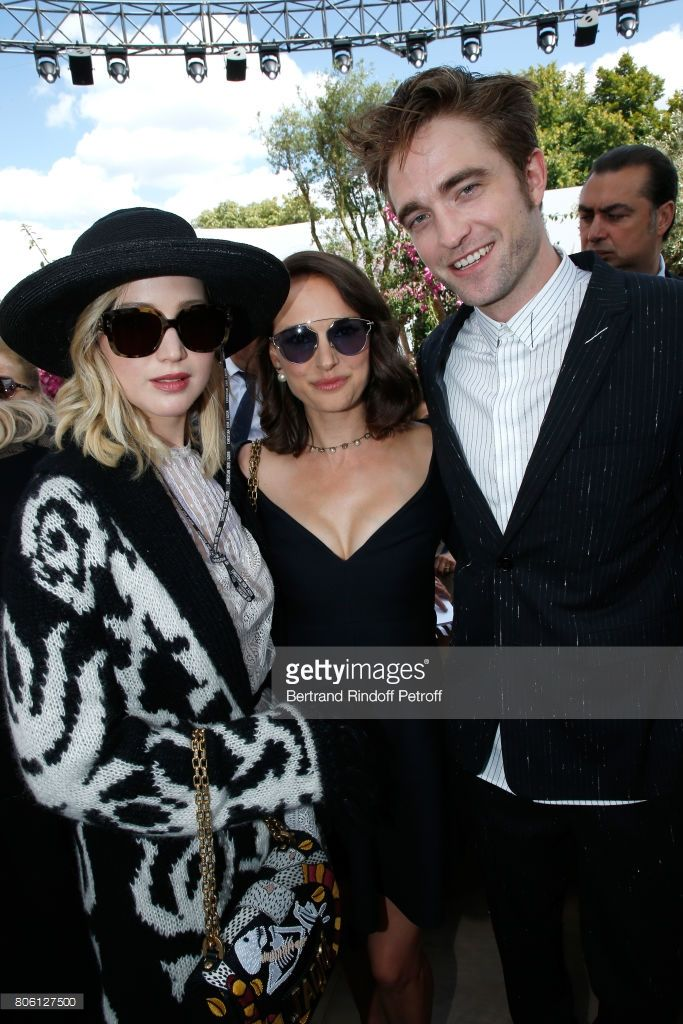 Actors Jennifer Lawrence, Natalie Portman and Robert Pattinson attends the Christian Dior Haute Couture Fall/Winter 2017-2018 show as part of Haute Couture Paris Fashion Week on July 3, 2017 in Paris, France.