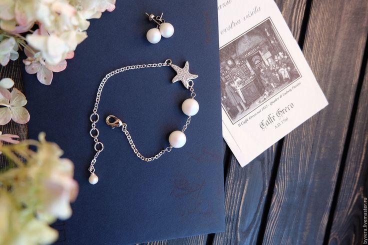 Купить Браслет с жемчугом Сваровски и морской звездочкой - браслет, браслет с жемчугом, морской браслет