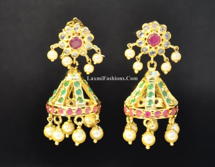DISCOUNT One Gram Gold Earrings Jhumkas Red Ruby Green Emerald on Stripes White CZs Pearls Indian Chandeliers Jumka Bollywood Jewelry by LaxmiFashions on Etsy https://www.etsy.com/listing/254831333/discount-one-gram-gold-earrings-jhumkas