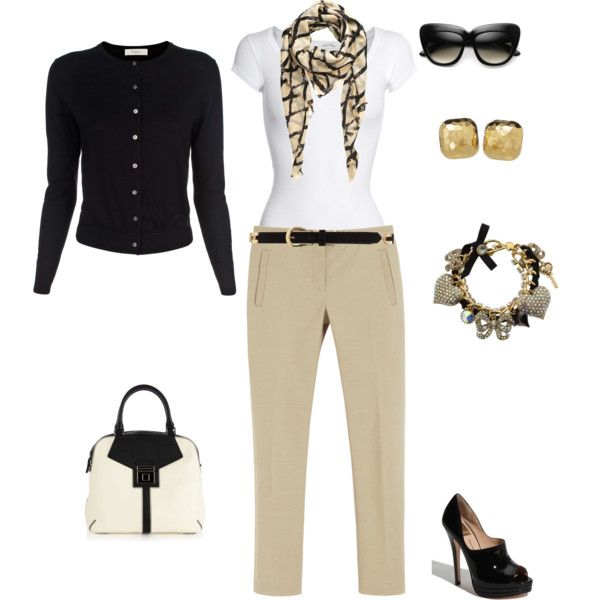 A casual look for work. Khakis are comfortable and classic. -Polyvore, Romigr99