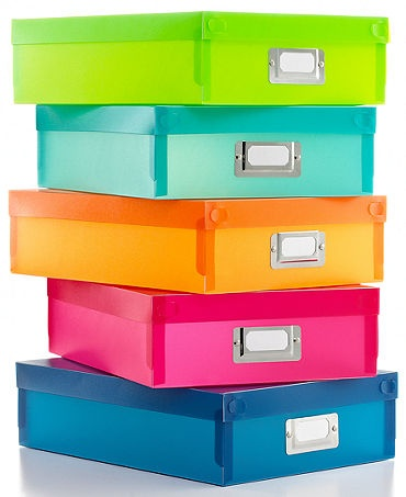 Colorful office storage!