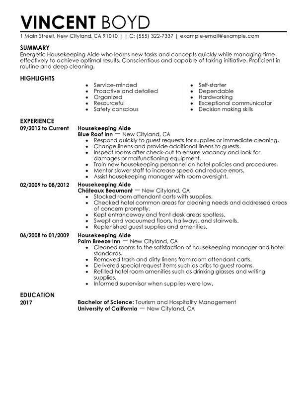 Resume Examples Housekeeping Housekeeper Objective