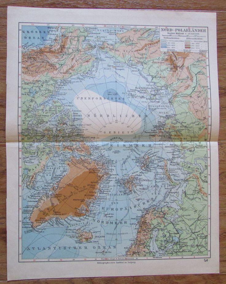 Nord-Polarländer Polarländer - alte Landkarte Karte old map 1928