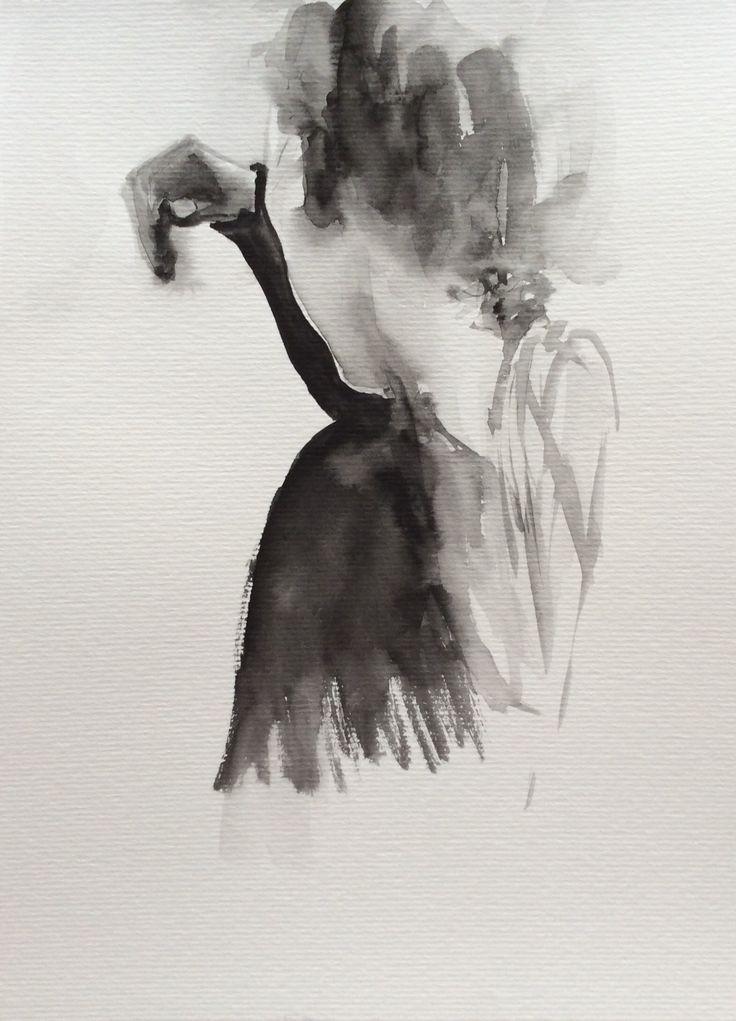 #watercolor #black&white #b&w #painting #back #hair #art #portrait