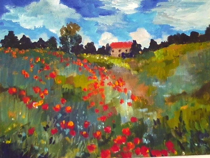 Monet's Poppies: Impressionist art has lots of vibrant  colors and hues. All twenty shades of  green in this advanced lesson were mixed using phalo and ultramarine blue, yellow, red, umbers, and yellow ocher.  #gingercooklive #art