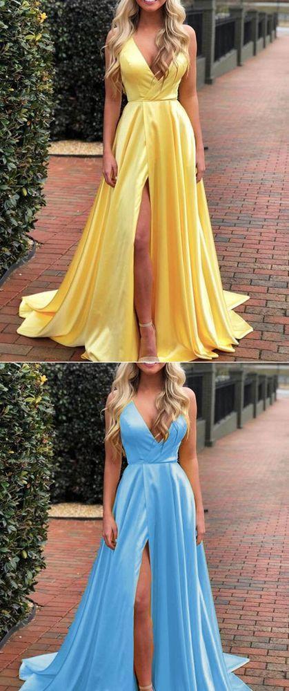 def9c9da4 Bright Yellow Sexy Slit Long Girls Graduation Prom Dresses 2019 M7129 from  Ulass#promdress#