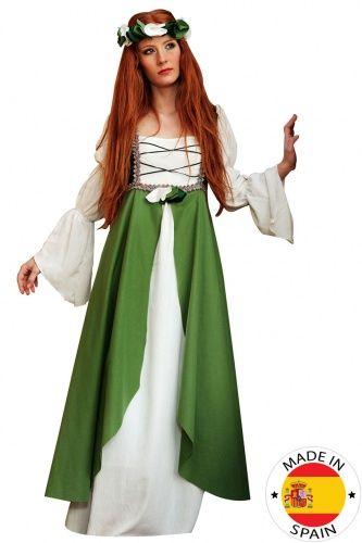 """Costume da fanciulla medievale verde per donna: elegantissimo questo abito da dama del medioevo che ti farà fare un salto indietro nel tempo! Lungo, con taglio """"impero"""", esso presenta una sovragonna verde e un'allacciatura di cordoncini verdi sul corpetto. La bella coroncina verde e bianca completa alla perfezione questo costume fiabesco, perfetto a Carnevale o per una sfilata a tema storico."""