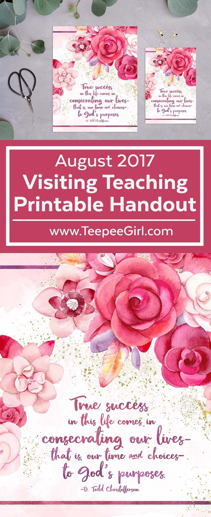 This August 2017 Visiting Teaching printable handout is a perfect gift for your sisters and friends! It comes in 2 sizes: 8x10 & 4x6. Get it at www.TeepeeGirl.com!
