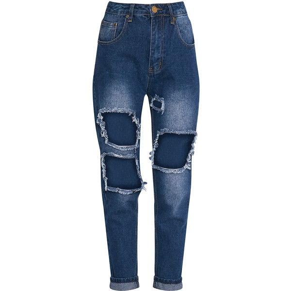 Kendall White Extreme Rip Mom Jean ($21) ❤ liked on Polyvore featuring jeans, white distressed jeans, destruction jeans, distressing jeans, destroyed jeans and relaxed jeans