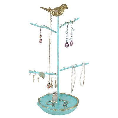 Bird-Jewelry-Tree-Stand-Organizer-Earring-Necklace-Holder-Shabby-Bird-Blue-Gold
