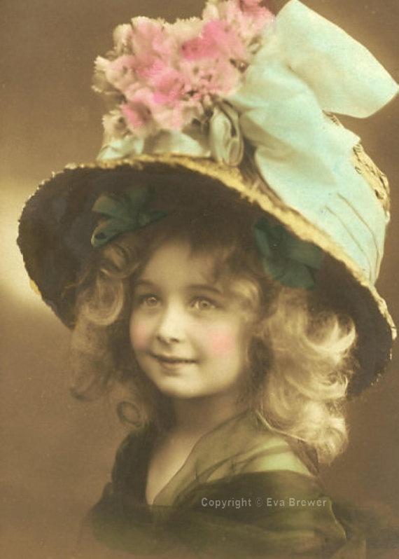 Vintage Girl with her Easter bonnet