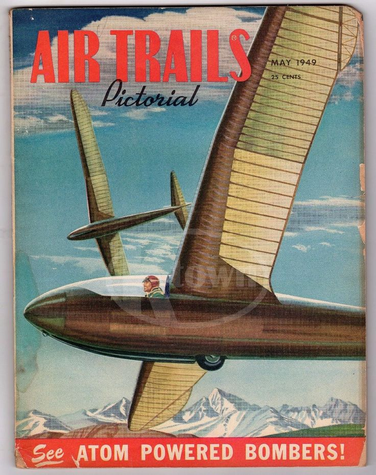AIR TRAILS ANTIQUE GRAPHIC AVIATION MAGAZINE ATOMIC BOMBERS & PLANE POSTERS 1949