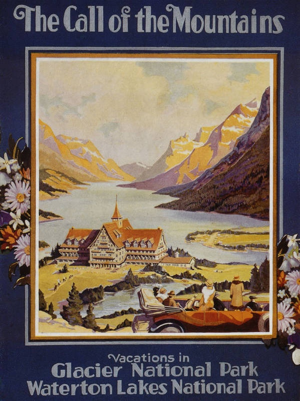 18x24 `GLACIER NATIONAL PARK` VINTAGE MONTANA TRAVEL POSTER Reprint Un-Framed