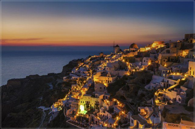 Santorini,  Greece Night view. Photo by George Papapostolou